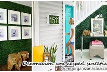 decorar paredes con patio sintético