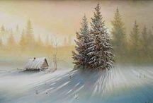 Malarstwo pejzaż  zimowy