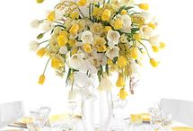 YELLOW decorations/centrepieces/set up