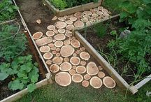 pathway made from wood discs