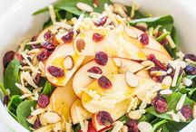 Apple, white cheddar spinach salad with cider dressing