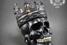 Hand Carved Sculpture King of Human Skull from Rarest Solid Black Arang Wood / Find this skull on Etsy