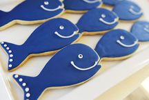Preppy Nautical Whale Themed Party / Preppy Whale Themed Birthday Party - Orange, Navy Blue and Sky Blue color scheme
