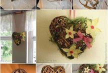 newspaper basket heart flowers / cose fatte di carta