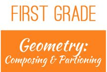 First Grade: Geometry - Composing and Partitioning / The board contains resources for the Texas TEKS:  1.6G - partition two-dimensional figures into two and four fair shares or equal parts and describe the parts using words  1.6H - identify examples and non-examples of halves and fourths