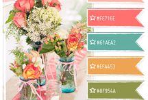 Palettes, colour combination / Flowers, design, vases, ideas