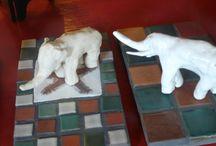 Figurines / Ceramic sculptures of animals.