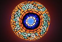Inside Blue Mosque / Mosaic table lamp decorated with mosaic and glass nuggets. One of a kind. Inspired by the famous Sultanahmet Mosque from Istanbul, better known as Blue Mosque