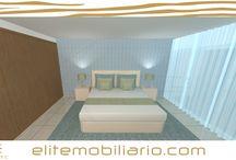 Suite em 3D com fotorealismo / Quarto com alternativas desenhado em 2D modelado em 3D e renderizado por Eliteline Mobiliario Moderno e Decoração de Interiores