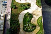 telhado verde e jardins
