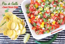 "Pico de Gallo & Sweet Potato Chips / Either with sweet potato chips, either on a salad or over a dish of rice and black beans, this Pico de Gallo ""está muy rico""! Vegan, gluten-free, oil-free."