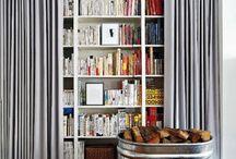 book shelves drapery