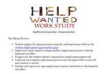 Work Study / Important Information for Work-Study Students / by Career Center