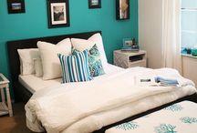 Basement Guest Room / Brighten Up and Warming up the Basement Guest Room Colors: teal, white...maybe some yellow