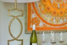 Framed scarves wall art