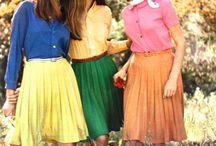 orange plisse skirt