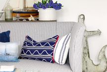 Nautical Seaside Style / Navy, red and white with graphic patterns define the nautical seaside style.