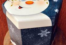 caixa azul de natal