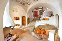 Inspiration in dome house (cob, wood, rock)
