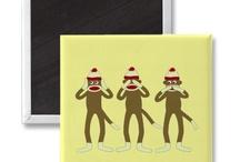 sock monkey magnets / by Elizabeth Wilson