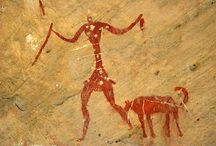 Cave painting man and dog
