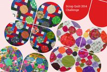 "Scrap Quilt Challenge / Here are the entrants to this year's Scrap Quilt Challenge featuring the ""Snowball"" quilt block. Tops must be made from entrant's stash, no fabric can be purchased.  Our customers vote on the winner.  Go to our website to vote for first, second and third place winner - your ballot will be entered into a draw for a quilting prize. Voting ends Saturday, October 4, 2014. www.oakvillesewing.com #quilting #sewing # fabrics #crafting #snowball quilts"
