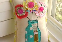 scrap flower cushion