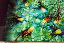 silk painting / alcohol ink  / by Ueber Girl