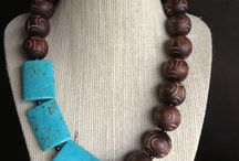 Chunky carved brown wood beaded necklace with by… Etsy