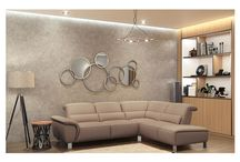 Modern Genuine-Leather Taupe Sectional