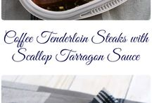 Coffee steak with scallop sauce