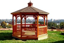 Gazebos, Pavilions, and Pergolas / Outdoor pine + cedar gazebos, pavilions, and pergolas - available unfinished or stained.  Amish made in the USA.