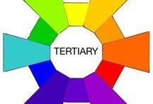 tertiaire kleuren / Wanneer men de drie primaire kleuren met elkaar mengt verkrijgt men tertiaire kleuren.
