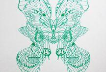 Butterflies. Pinks, Blues, Greens, yellows, blacks / Butterfly Screen Prints