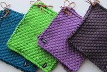 Strikkede grydelapper - knitting Potholders