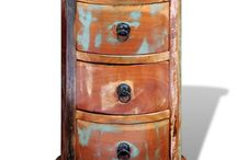 Round Bedside Table Reclaimed Cabinet
