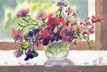 watercolours by june / Watercolour paintings and sketches by June Walker; includes pen and wash drawings.