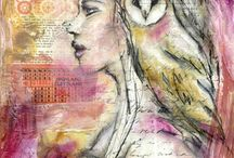 Portraits / Mixed media, art, inspiration, craft, anatomy, art journal,  drawing, getting started, beginners, craft, textiles, faces