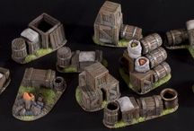 Small-scale scenery / A collection of inspirational images depicting small scale Mordheim terrain (barricades, counters, rubble heaps etc.).