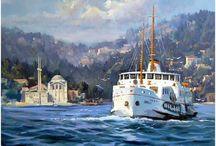 yağlı boya deniz gemi