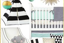 Mint and Gold Nursery Inspirations / We are seriously obsessed with mint and gold baby nurseries. This color combination is perfect for either gender. Caden Lane has the perfect baby bedding to make the perfect mint and gold baby room.