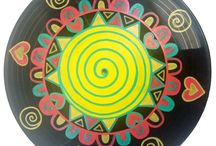 My Vinyl Record Paintings / Paintings on Vinyl records, upcycled music!