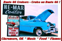 Cruise on Route 66 !! /  ATTENTION ROUTE 66 LOVERS & ALL FLAME THROWERS   September 26th - Cruise-In 4:00 p.m. at Ne-Mar Center AND Route 66 Cruise!!!  At 4:00 the music kicks off at Ne-Mar Center (located on West Will Rogers), then a Cruise at 6:00 on Historic Route 66 to Totem Pole Park in Foyil. Free Hamburgers & Hot dogs courtesy of the Akdar Shrine!   Flame Throwers when we arrive back to Ne-Mar!!  We will have a registration table setup for our Car Show Sept. 27th at Claremore Lake!