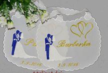 svadobné vankúše / svadobné podbradníky vyšívaní