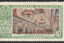 Moscow Metro Stamps / The Russian metro in Moscow was built in 1935, as a gift from the communist authorities to the proletarians.  http://blog.stampmagazine.co.uk