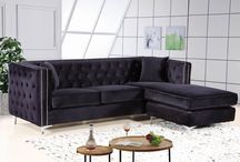 The Jesse Sofa Collection / -MERIDIAN FURNITURE-  A little pop of color can go a long way!! This Jesse Velvet 2pc. Sectional has a deep tufted design and the Chrome nail heads go all along the boarder. This new piece is also available in Black, Grey, and Cream.