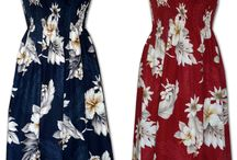 Sun Dress styles Hawaii Tropical Polynesian / Sundress styles, long and knee length, hundreds of prints on many pages located from the left side 'navigation bar' on MauiShirts' pages.. Short Dress Styles Page 1 and Page 2 and Mid & Long Aloha Dress, Hawaiian sundress