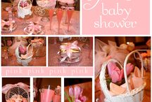 Baby shower pink and white roses