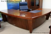 New York Deluxe Executive Desk / New York Deluxe Executive Desk made by jazzyexpo.com Modern Office Furniture. This executive desk is symmetrical so that it can be set up as either a right return desk or a left return desk, or as a diagonal desk with both sides being the front of the desk.  This unique desk is in stock in 2 sizes and in 2 different wood colors with data ports included in the price.