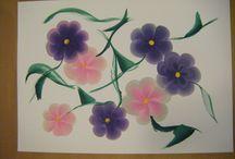 Egy mozdulat festés - one stroke painting / Festés, színek, egy lendülettel...